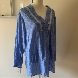 GAP XXL Long Sleeve Blue Tunic With Embroidery
